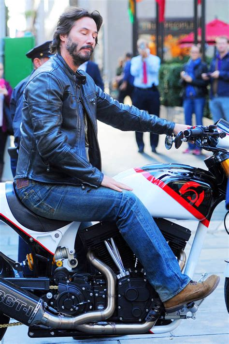 Keanu Reeves on his motorcycle at The Today Show and Henry